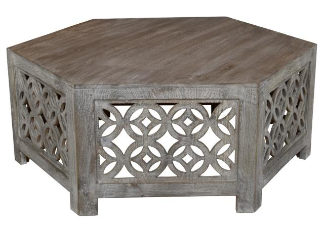 Where to find COFFEE TABLE - GREY CARVED WOOD in Ventura